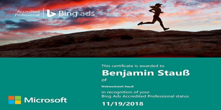 Certificate Bing Ads
